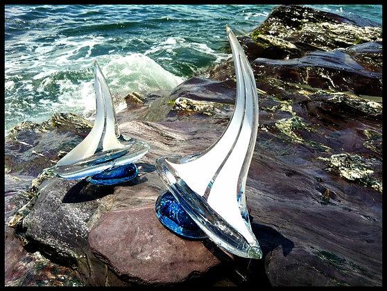 hand blown glass sailboat set gift anchorbendglassworks art sculpture sailing newport rhode island