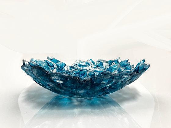 hand blown glass seascape bowl copper blue sculpture art gift anchor bend glass vessel ocean made in usa