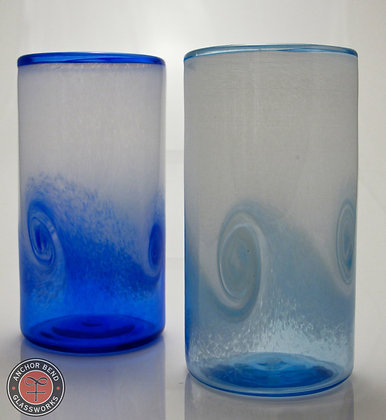 hand blown glass wave tumbler cup anchor bend glassworks glass gift tableware art ocean made in usa
