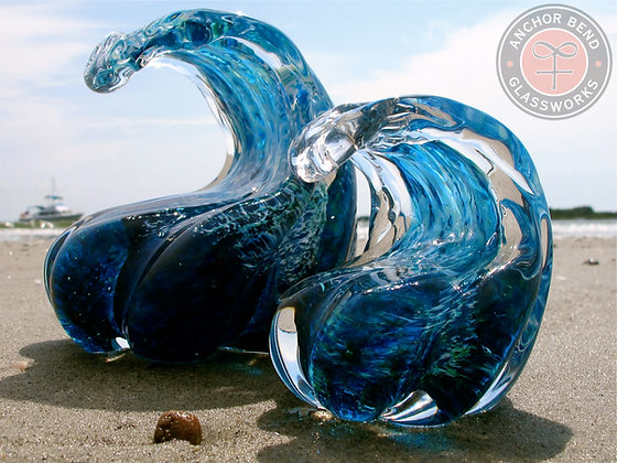 hand blown glass art wave sculpture gift anchor bend glassworks art newport ri made in usa