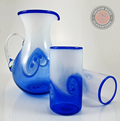 handblown glass art pitcher tumbler set wedding gift anchor bend glassworks cup