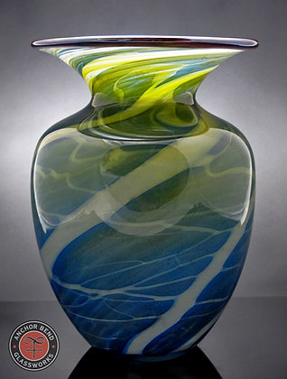 hand blown glass boat house vase gift anchor bend glassworks art vessel made in newport rhode island
