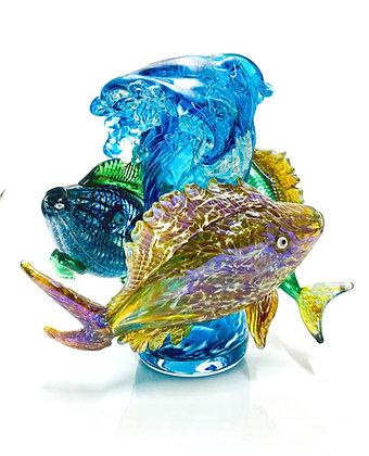 hand blown glass vase sculpture fish art anchor bend glassworks ocean gift made in usa