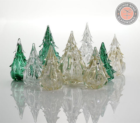 hand blown glass christmas tree sculpture gift decoration made in america anchor bend glassworks art glass seasonal forest