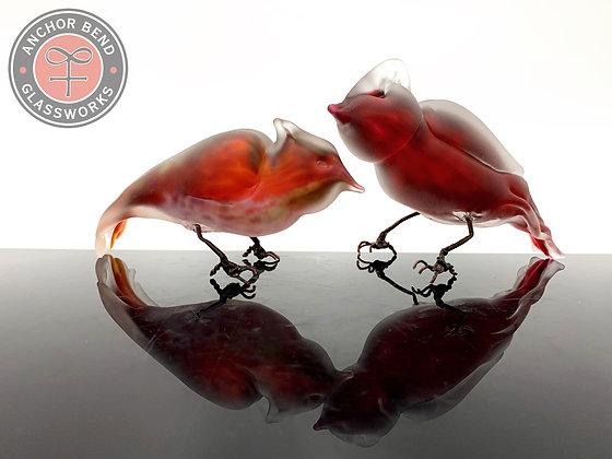 hand blown glass red cardinal bird sculpture art glass anchor bend glassworks birdy gift made in the usa