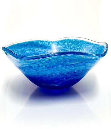 hand blown glass wave bowl ocean vessel art gift anchor bend glassworks made in usa