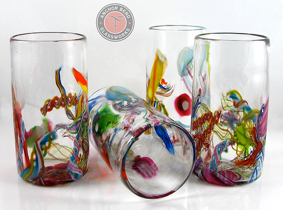 hand blown glass cane-fetti tumbler gift anchor bend glassworks art tableware cups colorful drink made in newport ri