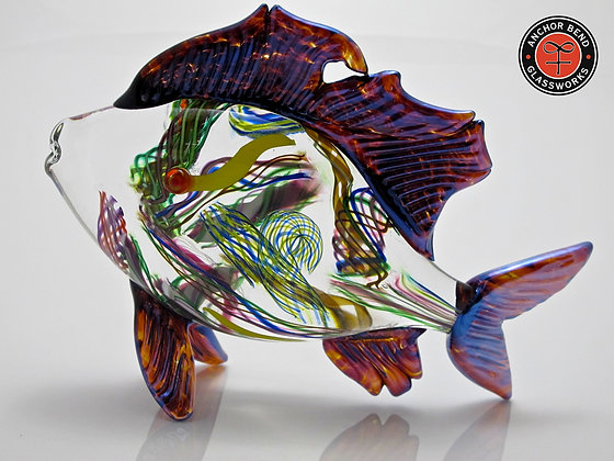 hand blown glass fish sculpture skipjack gift made in america  anchor bend glassworks