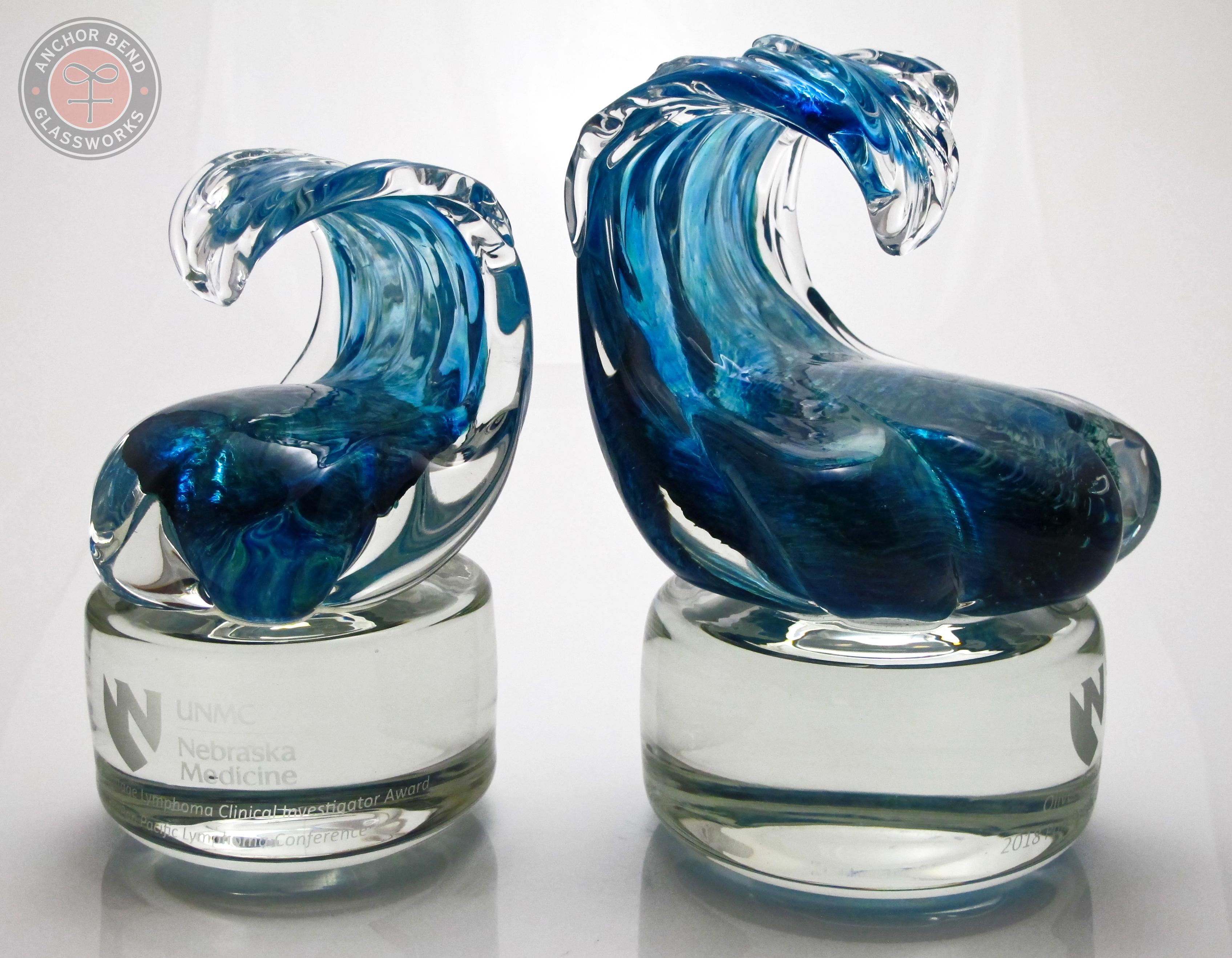 Custom Wave Trophies on Glass Base