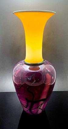 hand blown glass incalmo purple primerose vase art glass vessel anchor bend glassworks gift anchor bend glassworks usa