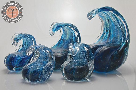 5 Blue Wave Sculptures hand blown glass art wave sculpture gift anchor bend glassworks art newport ri ocean art