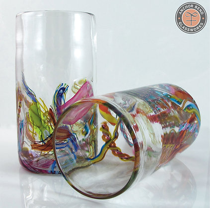 hand blown glass cane fetti tumbler cup anchor bend glassworks glass gift tableware art made in usa