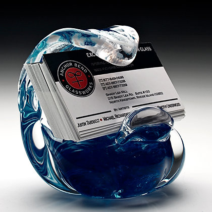 hand blown glass art wave sculpture business card holder gift anchor bend glassworks art newport ri made in usa