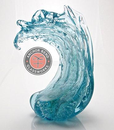 hand blown glass wave gift anchor bend glassworks art newport ri custom corporate trophy