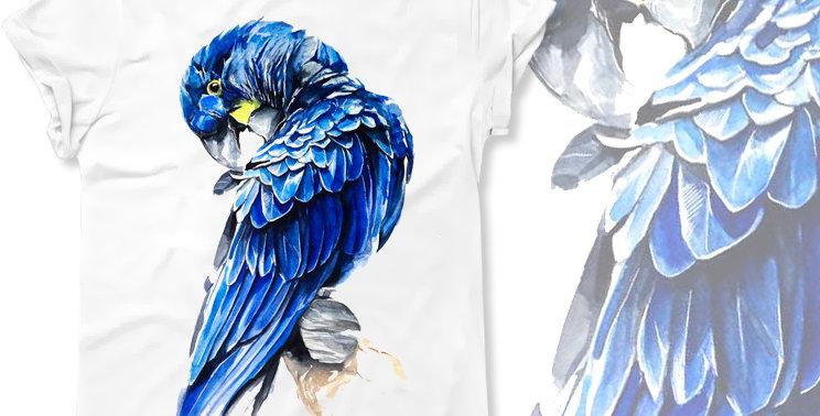 Футболка Синий попугай Ара