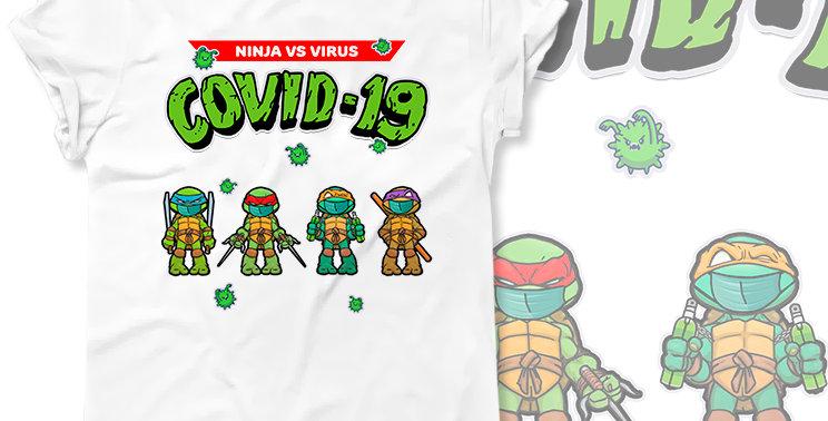 T-shirt Ninja Vs Virus Covid 19