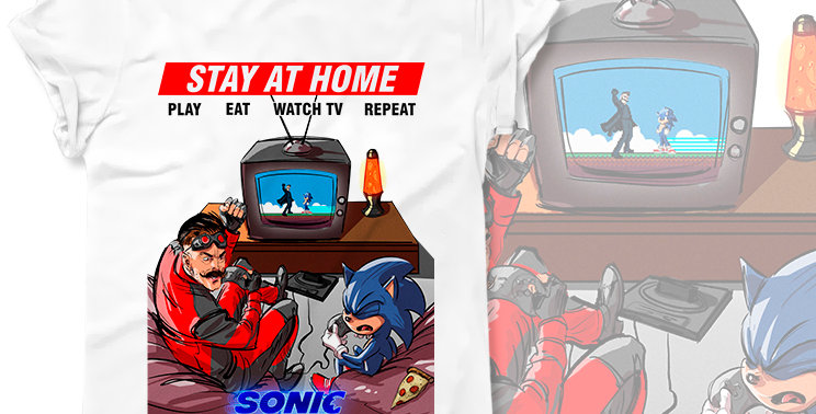 T-shirt Sonic the Hedgehog, Stay at home