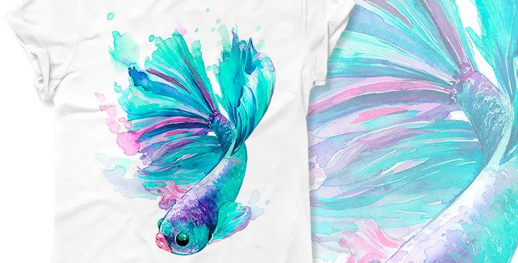 T-shirt Fish turquoise