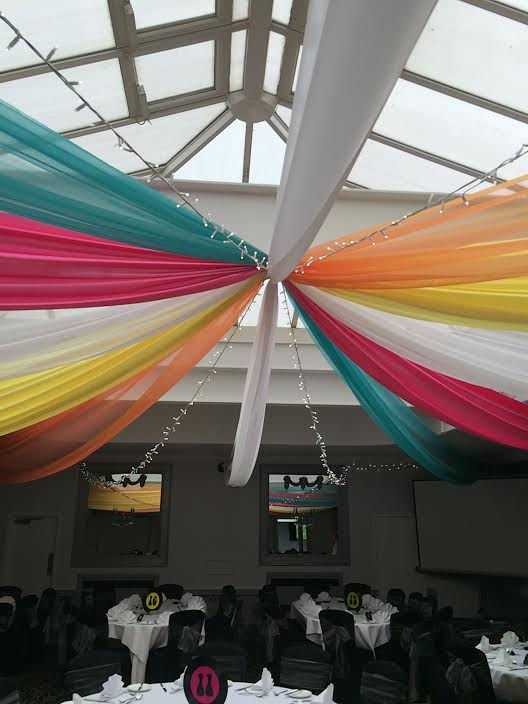 80's themed ceiling drapes
