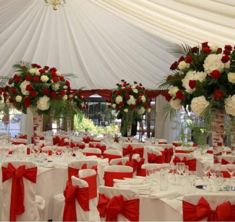 red sateen bowed sashes