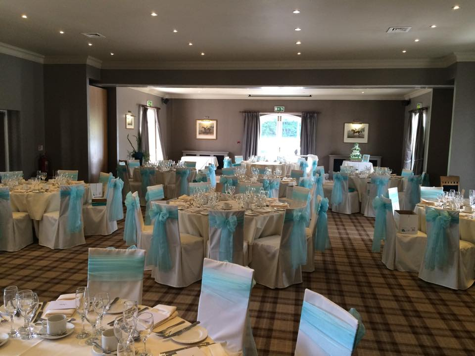 turquoise organza bowed sashes