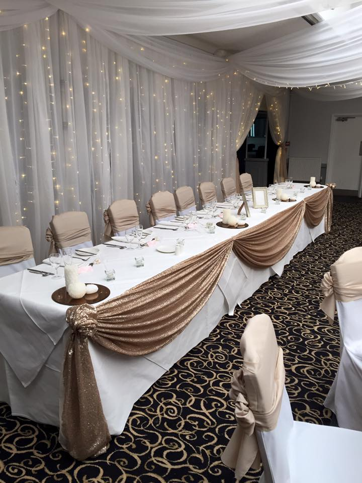 gold sequin table drape