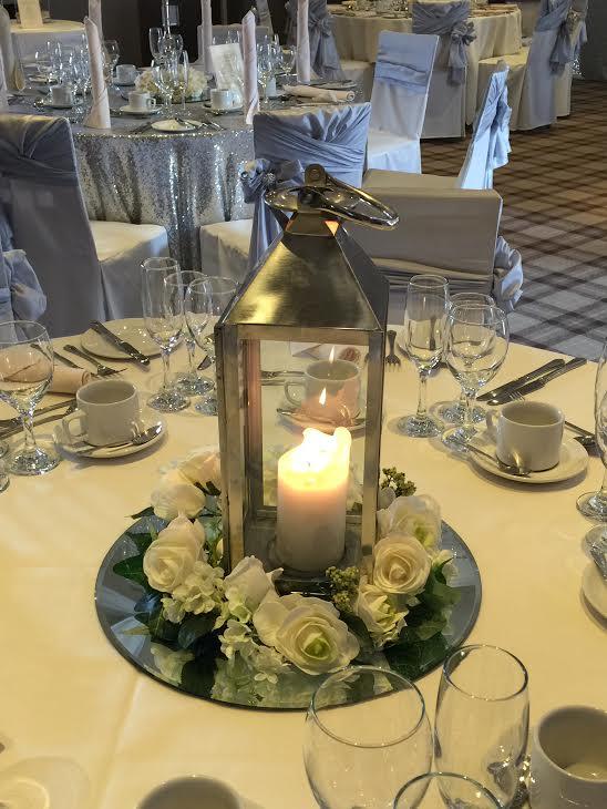 Silver Lantern Table Cente