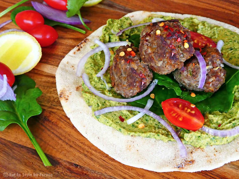 Lamb Kebabs with Coriander & Spinach Hummus