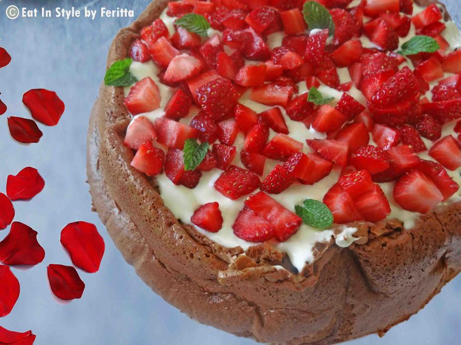 4 Ingredient Strawberries & Cream Chocolate Cake