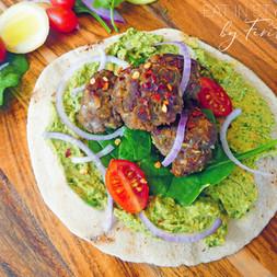 Lamb Kebab with Veggie Hummus