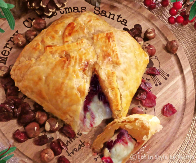 Baked Cranberry Walnut and Cheese in Puff Pastry