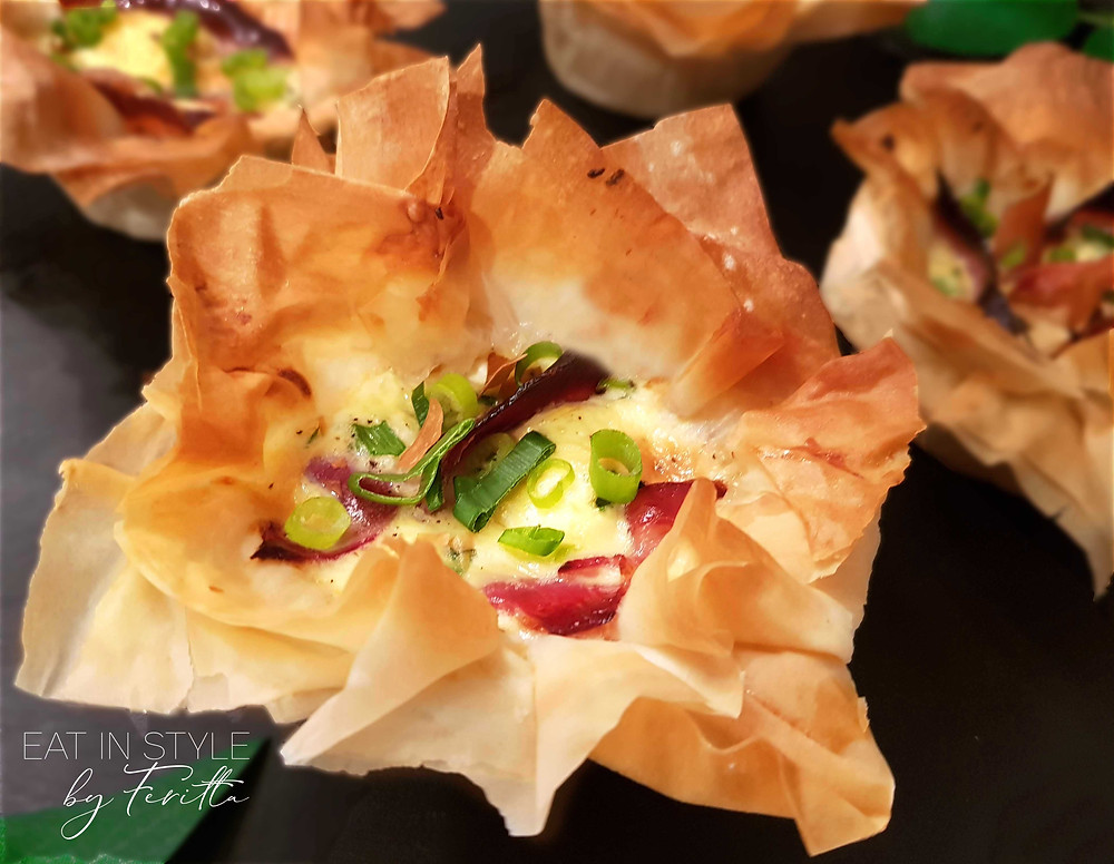 Filo Goats Cheese Tarts   Eat In Style by Feritta
