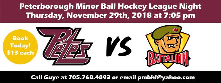 Advertisement of Peterborough Ball Hockey Night with the Petes. Tickets on sale.