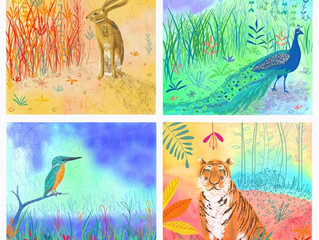 Indian animal designs to be developed into a range of 12 cards or the Almanac Gallery, London