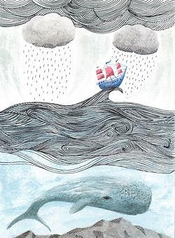 All at Sea - ink & watercolour