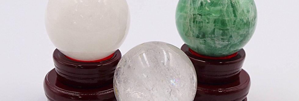 天然水晶3個セット売り(白水晶、フローライト水晶、水晶)