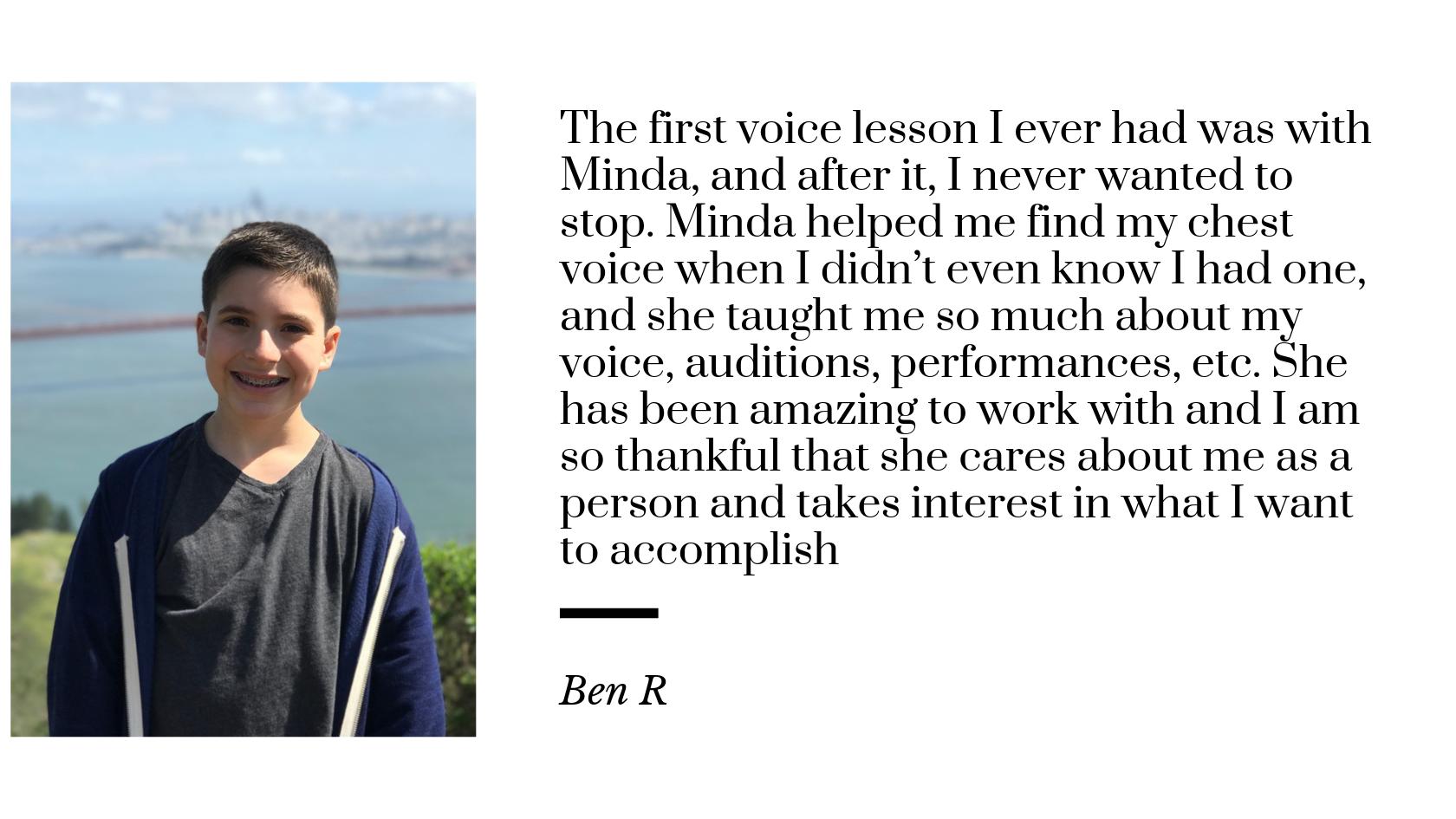Ben B testimonial for Minda Larsen