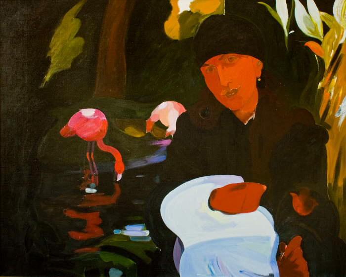 Портрет с фламинго,х.м 2004