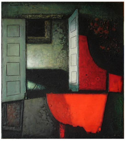 Красный рояль.  2015 Холст, левкас, акрил  90х70