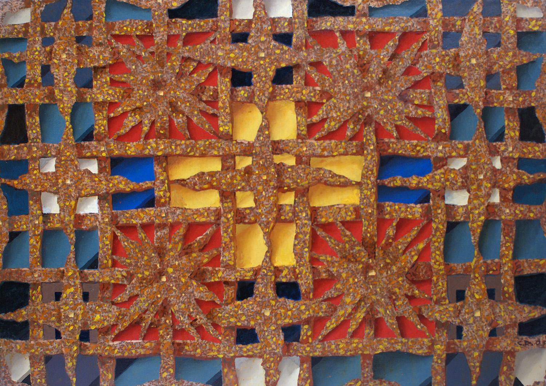 красные квадраты и желтый крест 70х100 2003