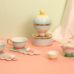 Candybowl with Lotus tea set