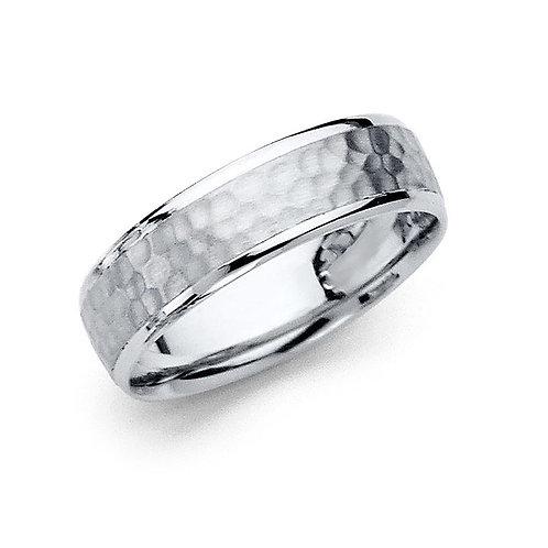 14k White Gold Ladies 5.5-mm Hammered Design Comfort Fit Wedding Band