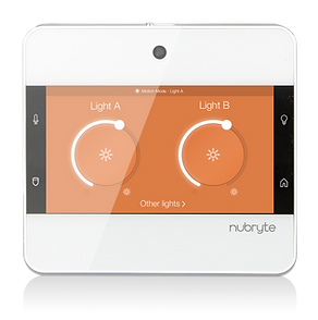 The NuBryte Touchpoint lighting screen.