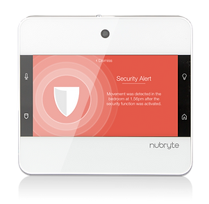 The NuBryte Touchpoint smart home security alert screen.