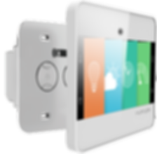 A detailed view of the NuBryte Touchpoint smart home automation device.