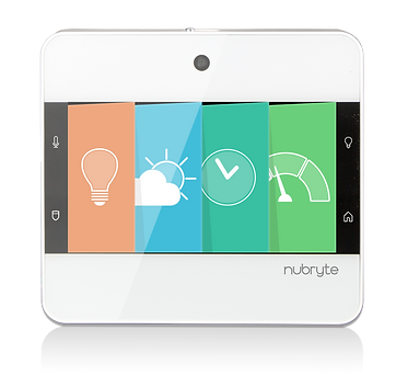 The NuBryte Touchpoint smart home automation device.
