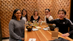 Andrea, Alice, Cecilia, Christina and Lorenzo the youngest lab member enjoying a Japanese dinner