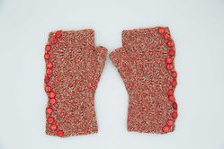 Knit red and white fingerless gloves with side buttons