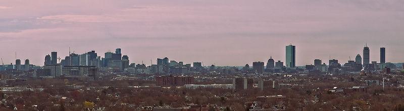Panoramic photo of Downtown Boston at Dusk