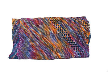 Knit multi colored, dual patterned shawl